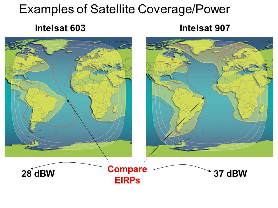 Examples of Satellite Coverage/Power 37 dBW28 dBW Compare EIRPs Intelsat 603Intelsat 907