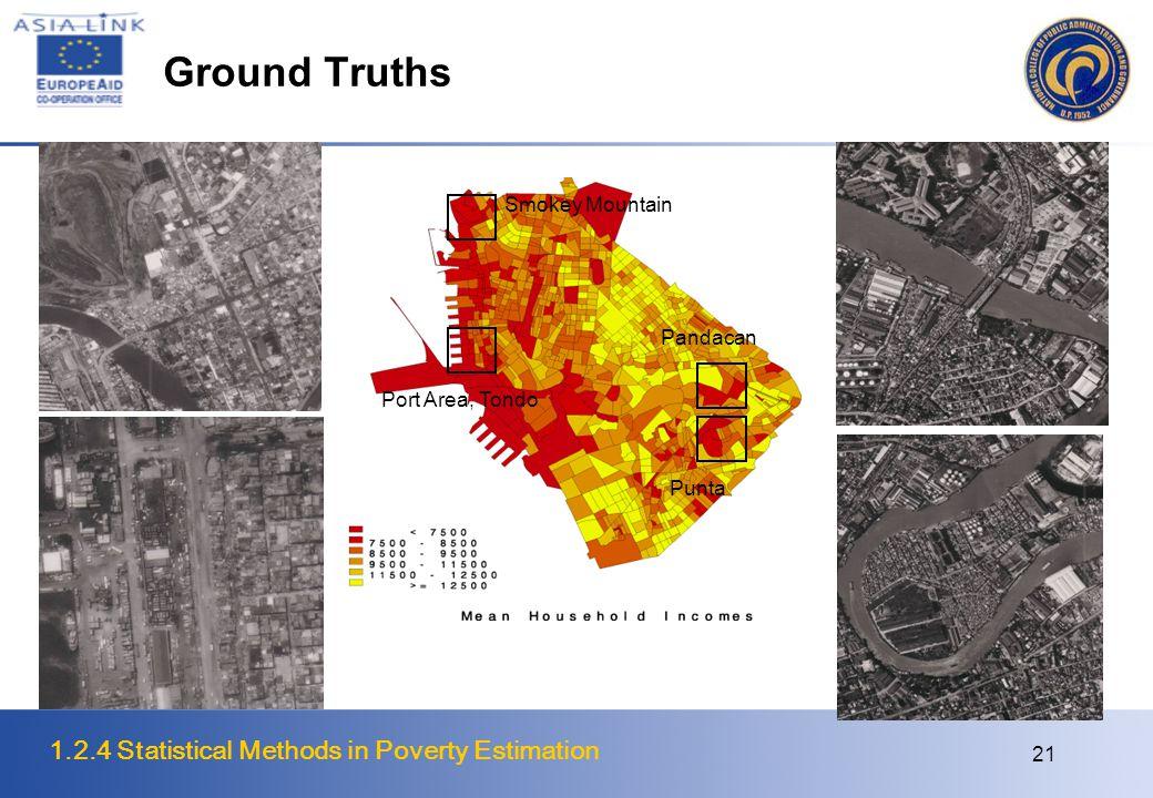 1.2.4 Statistical Methods in Poverty Estimation 21 Ground Truths Smokey Mountain Port Area, Tondo Pandacan Punta