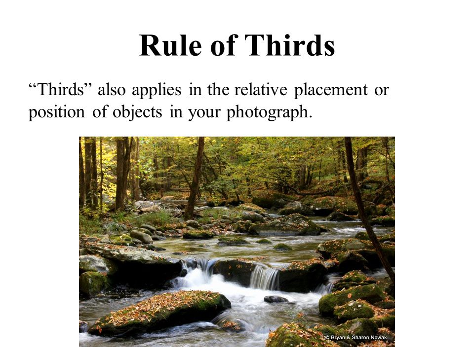 "Rule of Thirds ""Thirds"" also applies in the relative placement or position of objects in your photograph."