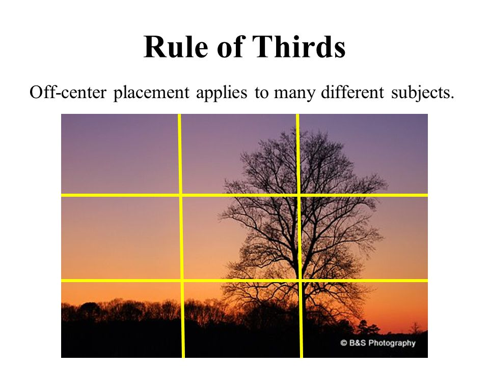 Rule of Thirds Off-center placement applies to many different subjects.