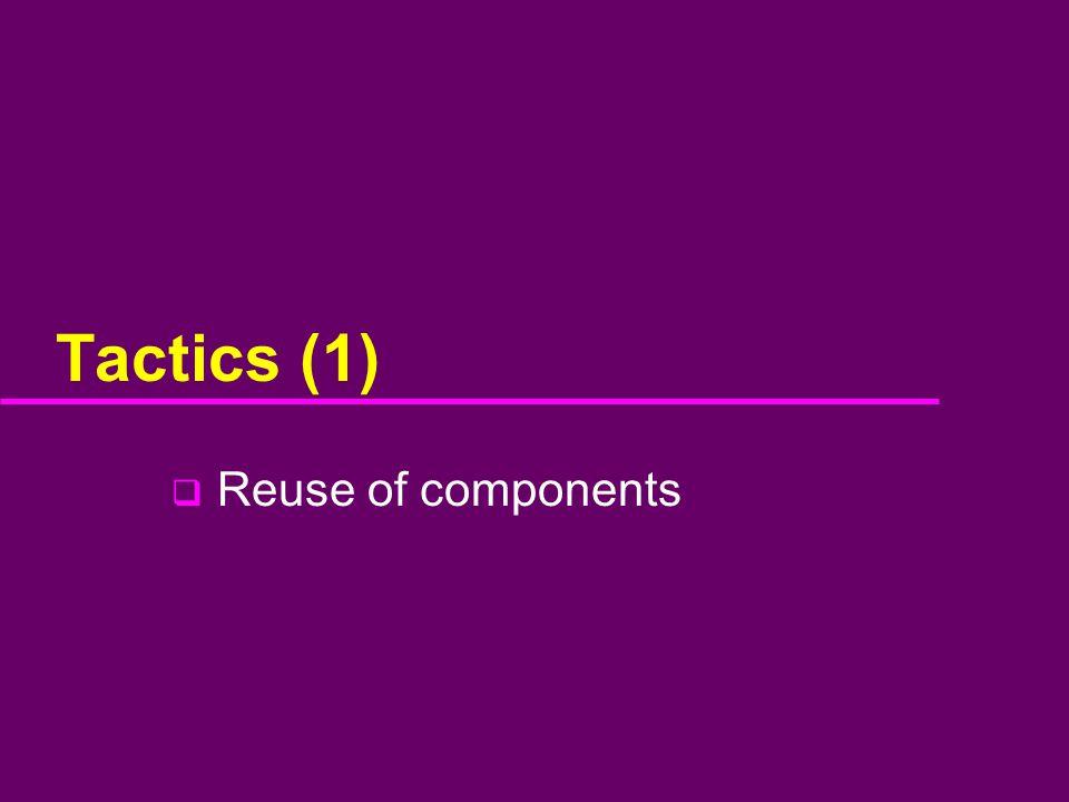 Tactics (1)  Reuse of components