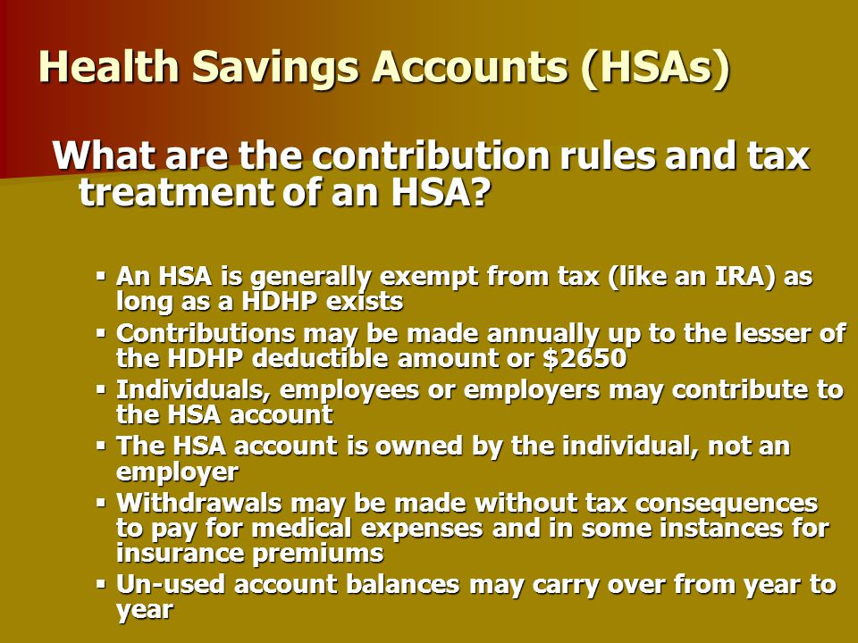 Health Savings Accounts ( HSAs ) President Bush signed into law on December 8 th as part of the Medicare RX bill ( Eff. 1/1/2004 ) President Bush sign