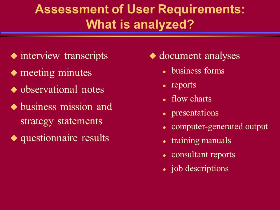 Assessment of User Requirements: What is analyzed.