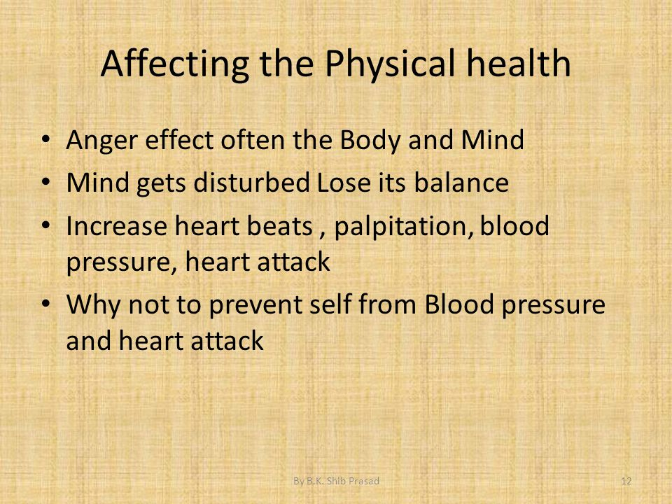 Affecting the Physical health Anger effect often the Body and Mind Mind gets disturbed Lose its balance Increase heart beats, palpitation, blood press