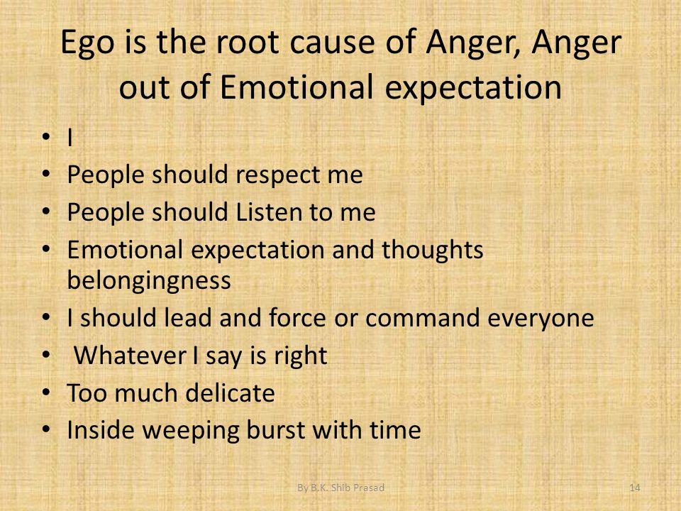 Ego is the root cause of Anger, Anger out of Emotional expectation I People should respect me People should Listen to me Emotional expectation and tho