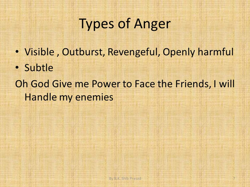 Types of Anger Visible, Outburst, Revengeful, Openly harmful Subtle Oh God Give me Power to Face the Friends, I will Handle my enemies 7By B.K. Shib P