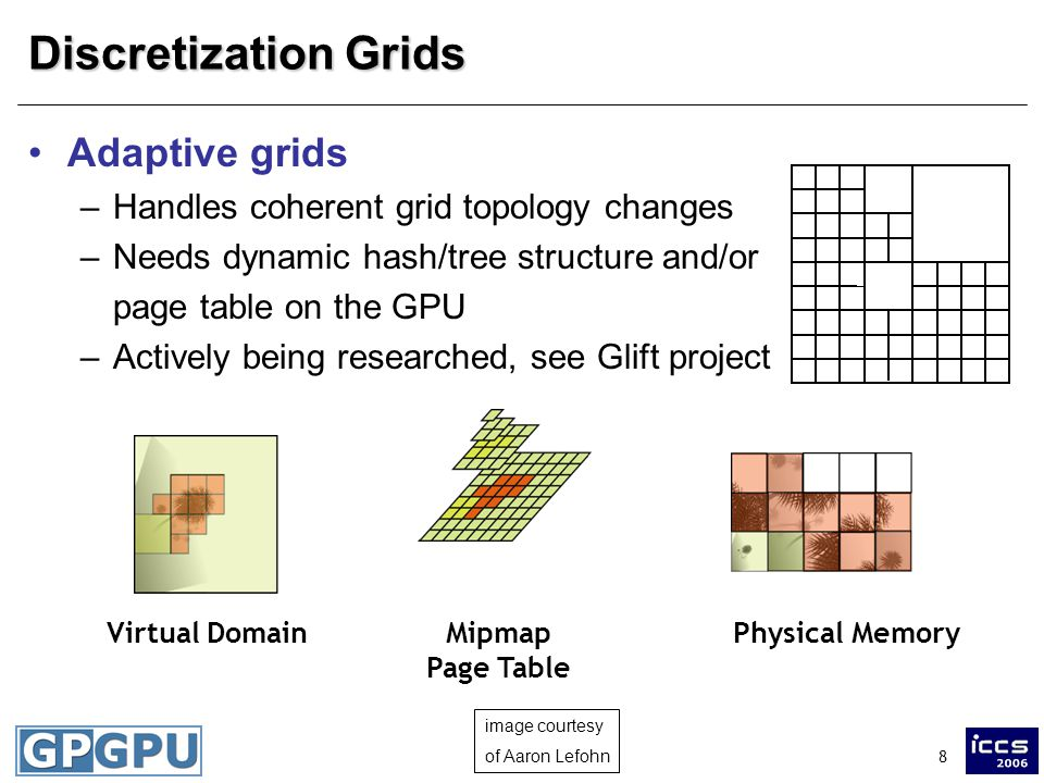 8 Discretization Grids Adaptive grids –Handles coherent grid topology changes –Needs dynamic hash/tree structure and/or page table on the GPU –Actively being researched, see Glift project Physical Memory Virtual Domain Mipmap Page Table image courtesy of Aaron Lefohn