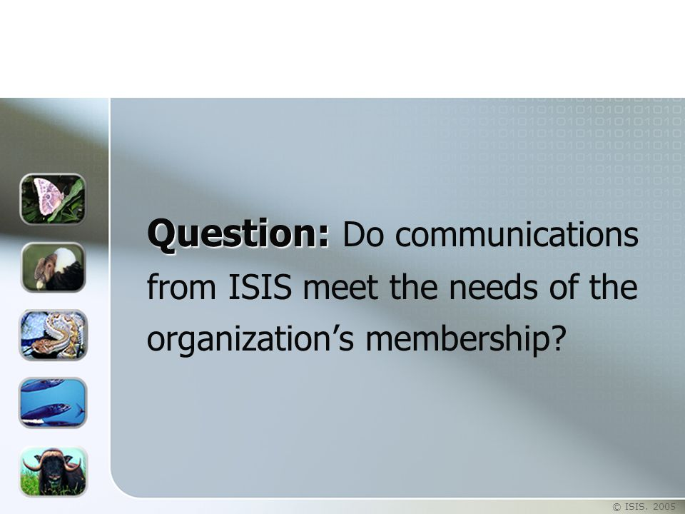 © ISIS. 2005 Question: Question: Do communications from ISIS meet the needs of the organization's membership?
