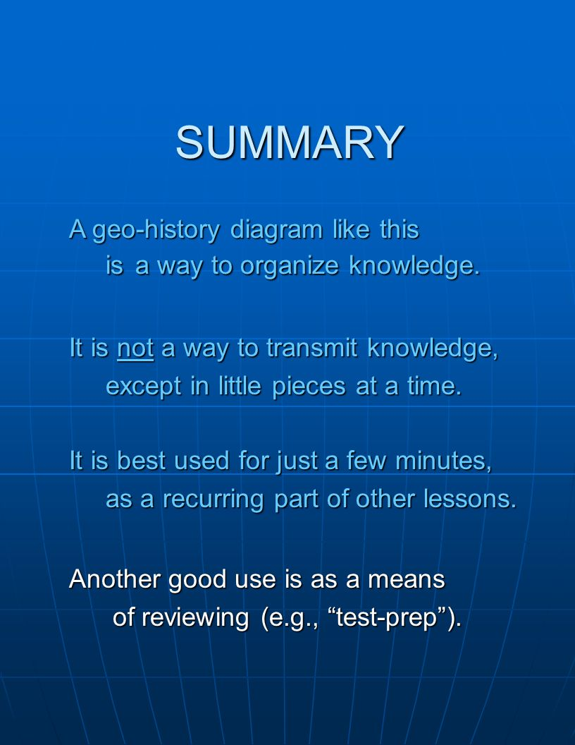 "SUMMARY A geo-history diagram like this is a way to organize knowledge. Another good use is as a means of reviewing (e.g., ""test-prep""). of reviewing"