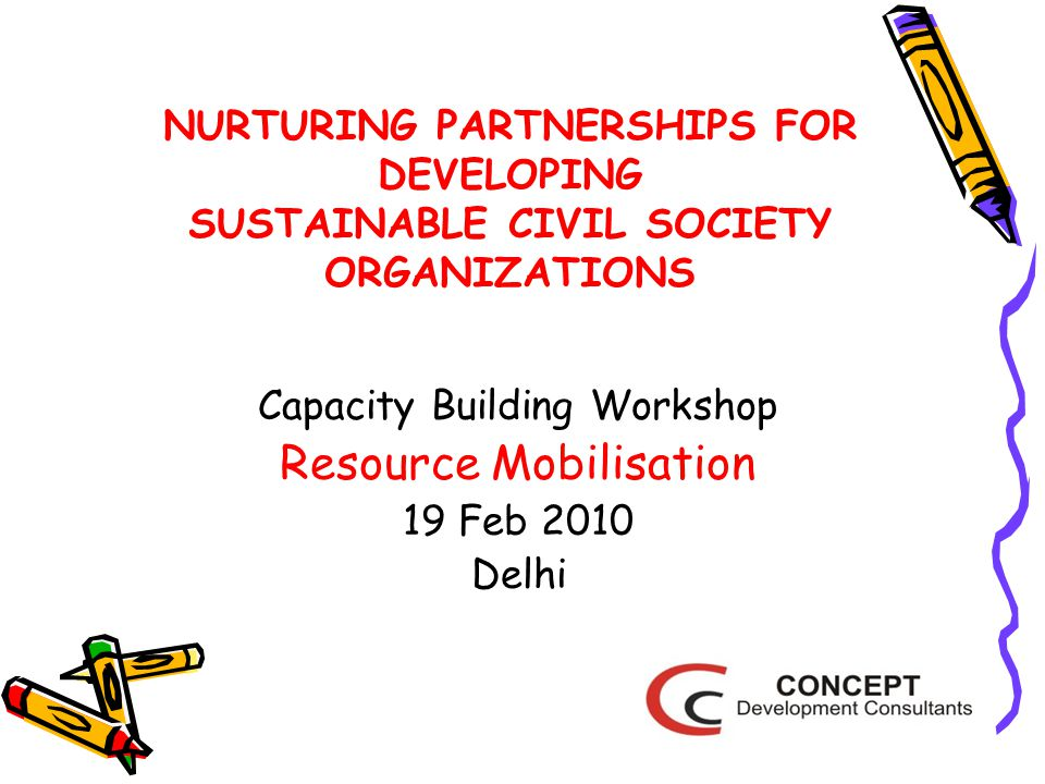 NURTURING PARTNERSHIPS FOR DEVELOPING SUSTAINABLE CIVIL SOCIETY ORGANIZATIONS Capacity Building Workshop Resource Mobilisation 19 Feb 2010 Delhi