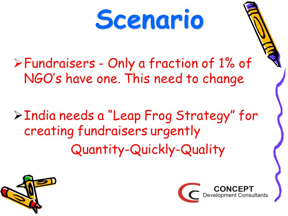 Scenario  Fundraisers - Only a fraction of 1% of NGO's have one.
