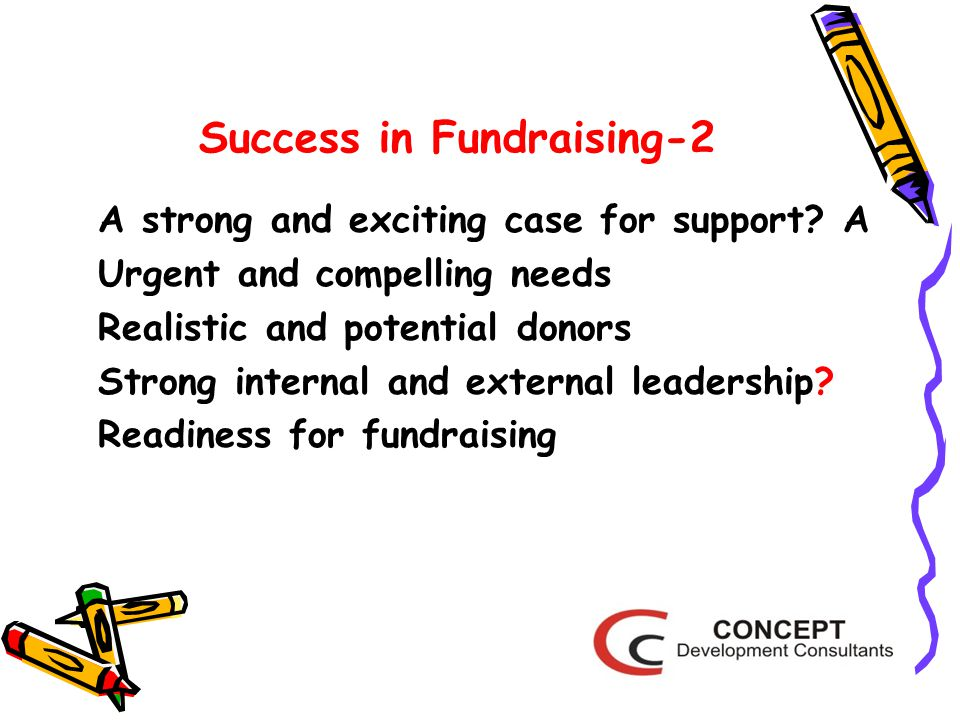 Success in Fundraising-2 A strong and exciting case for support.