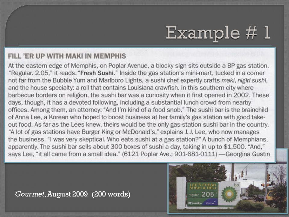 Gourmet, August 2009 (200 words)