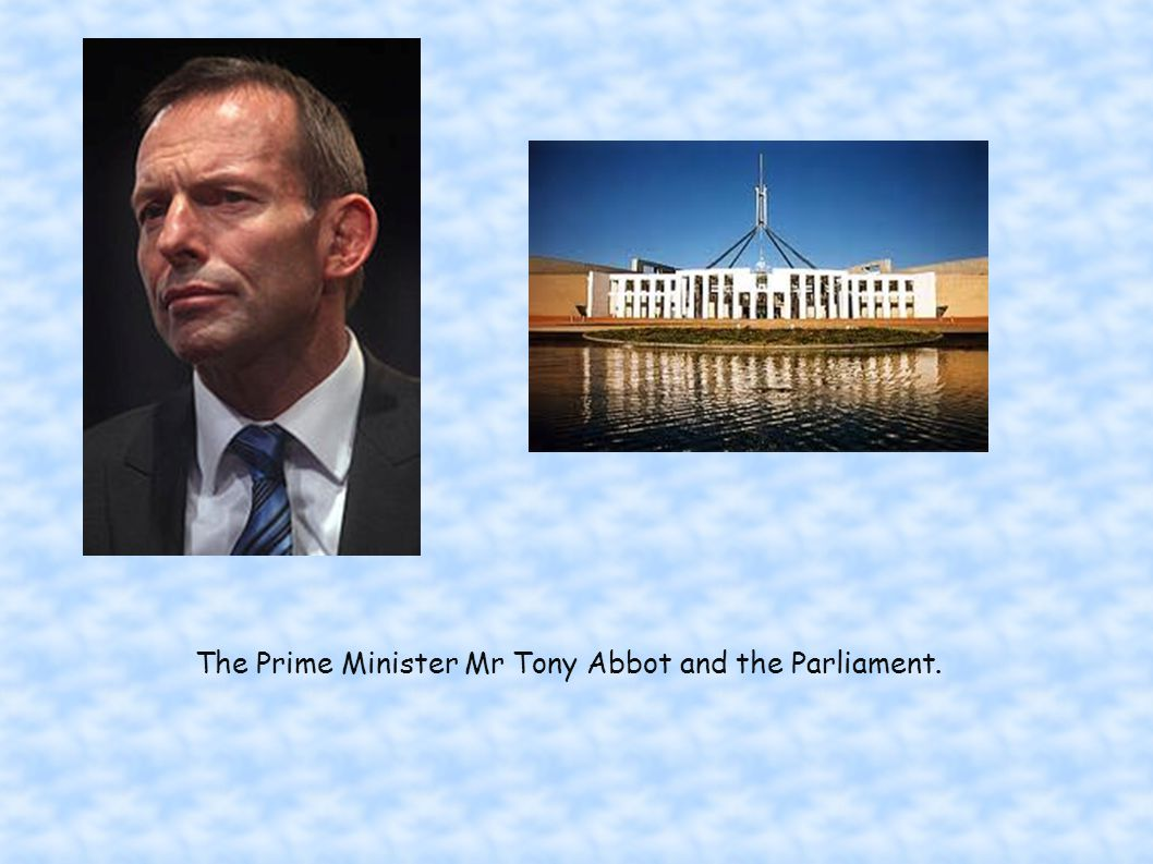The Prime Minister Mr Tony Abbot and the Parliament.