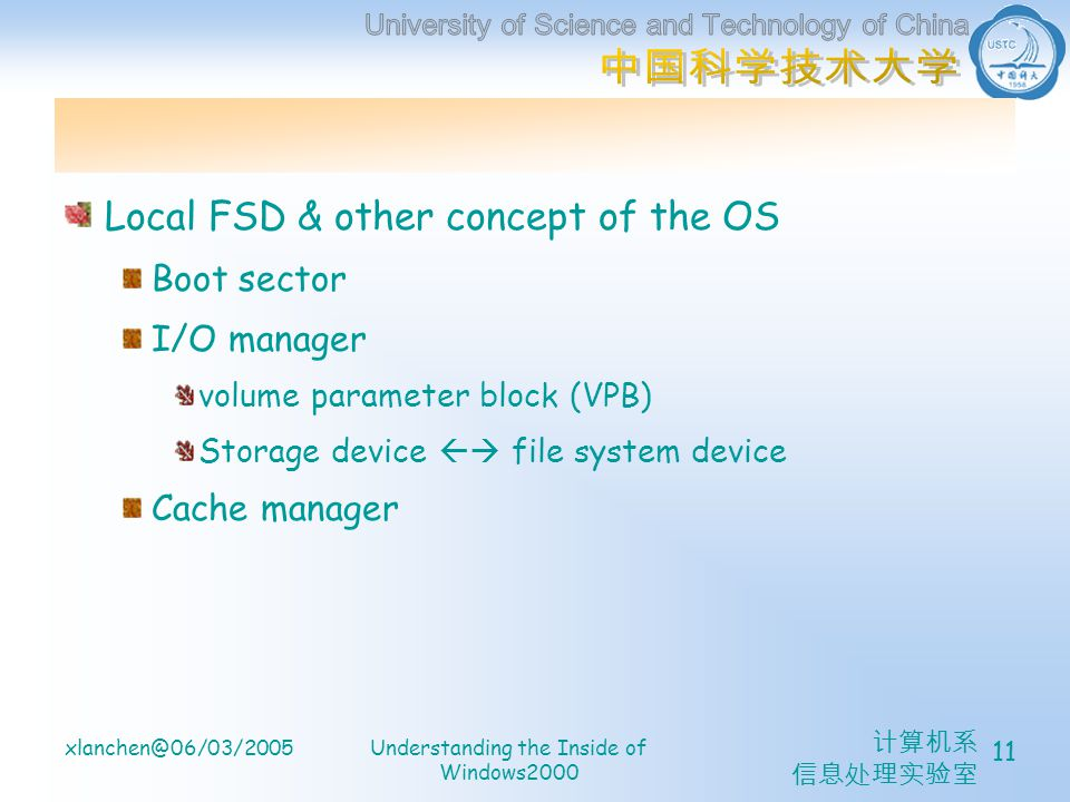 计算机系 信息处理实验室 xlanchen@06/03/2005Understanding the Inside of Windows2000 11 Local FSD & other concept of the OS Boot sector I/O manager volume paramete