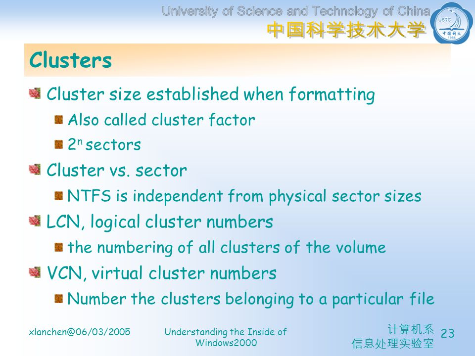 计算机系 信息处理实验室 xlanchen@06/03/2005Understanding the Inside of Windows2000 23 Clusters Cluster size established when formatting Also called cluster facto