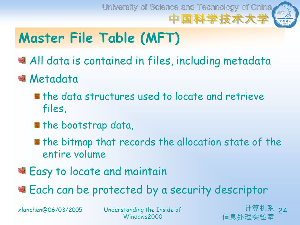 计算机系 信息处理实验室 xlanchen@06/03/2005Understanding the Inside of Windows2000 24 Master File Table (MFT) All data is contained in files, including metadata