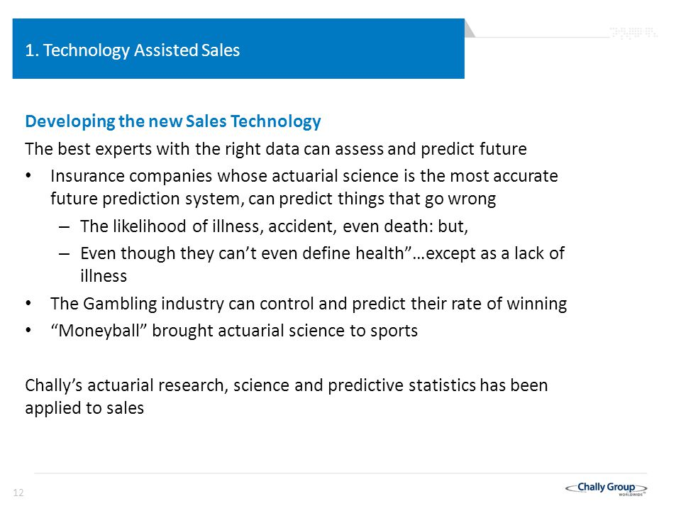 12 1. Technology Assisted Sales Developing the new Sales Technology The best experts with the right data can assess and predict future Insurance compa