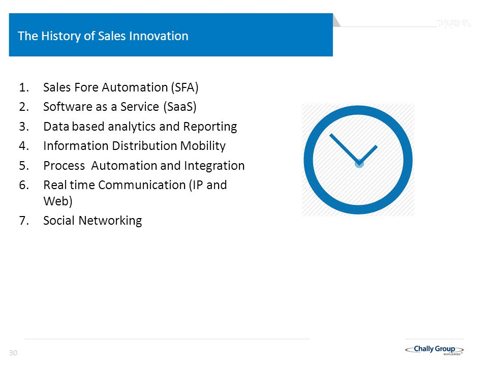 30 The History of Sales Innovation 1.Sales Fore Automation (SFA) 2.Software as a Service (SaaS) 3.Data based analytics and Reporting 4.Information Dis