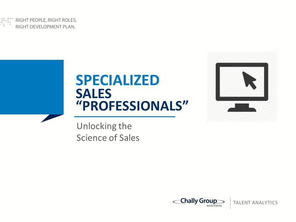 51 SPECIALIZED SALES PROFESSIONALS Unlocking the Science of Sales