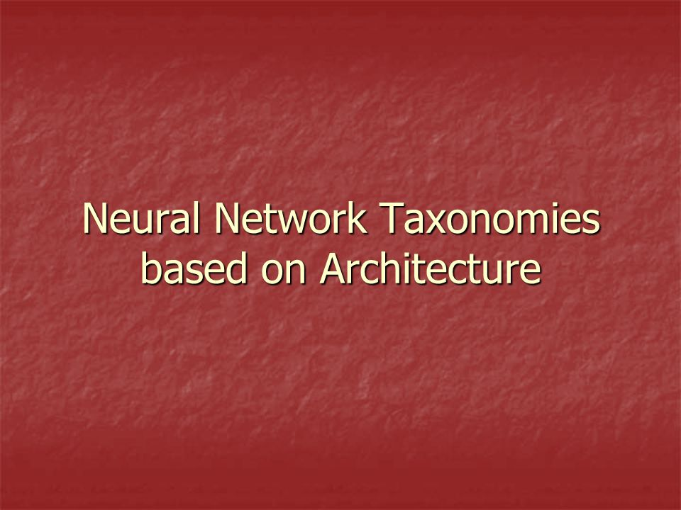 Neural Network Taxonomies based on Architecture