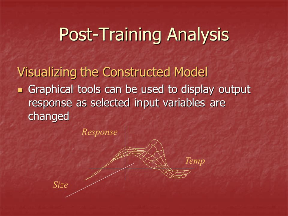 Post-Training Analysis Visualizing the Constructed Model Graphical tools can be used to display output response as selected input variables are changed Graphical tools can be used to display output response as selected input variables are changed Response Size Temp