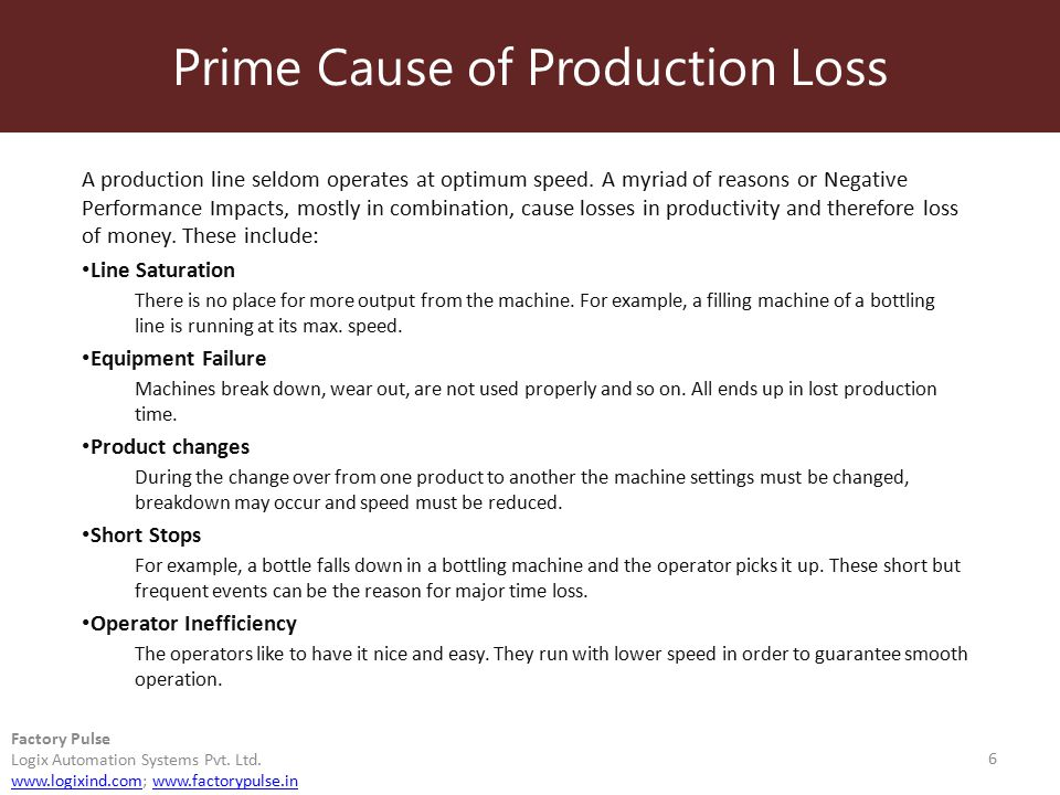 Prime Cause of Production Loss 6 Factory Pulse Logix Automation Systems Pvt. Ltd. www.logixind.comwww.logixind.com; www.factorypulse.inwww.factorypuls