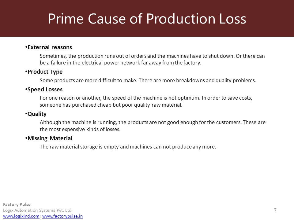 Prime Cause of Production Loss 7 Factory Pulse Logix Automation Systems Pvt. Ltd. www.logixind.comwww.logixind.com; www.factorypulse.inwww.factorypuls