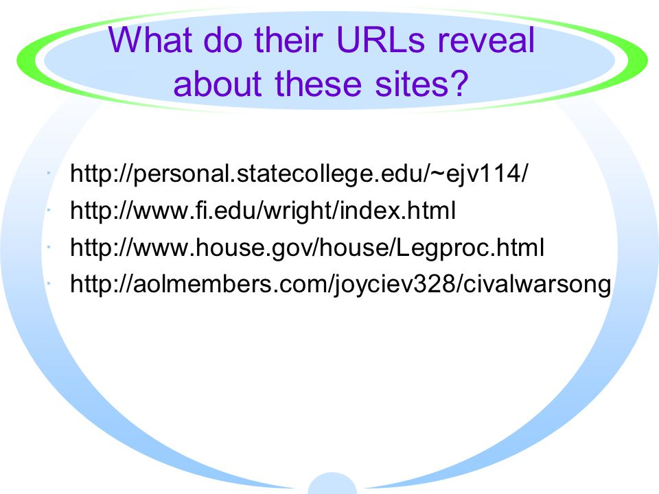 What do their URLs reveal about these sites.