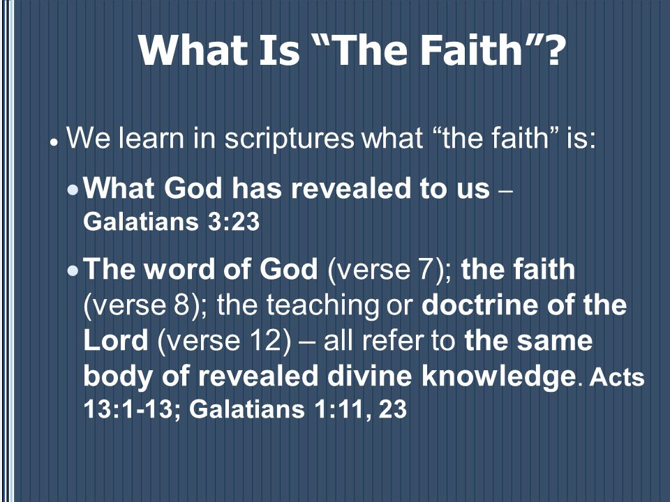 What Is The Faith .