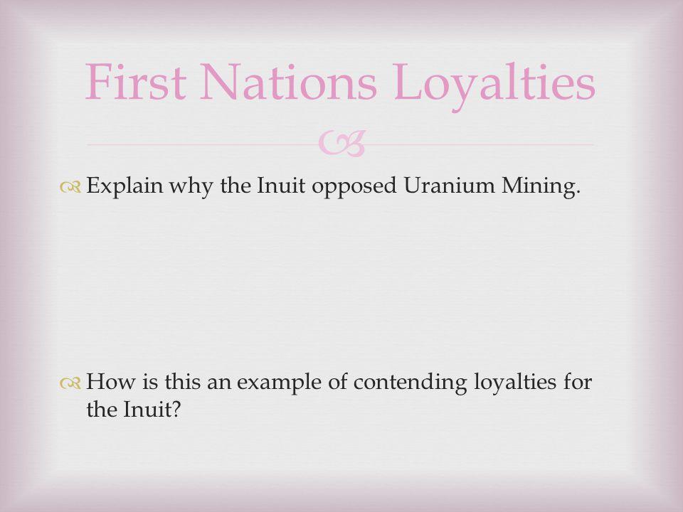   Explain why the Inuit opposed Uranium Mining.