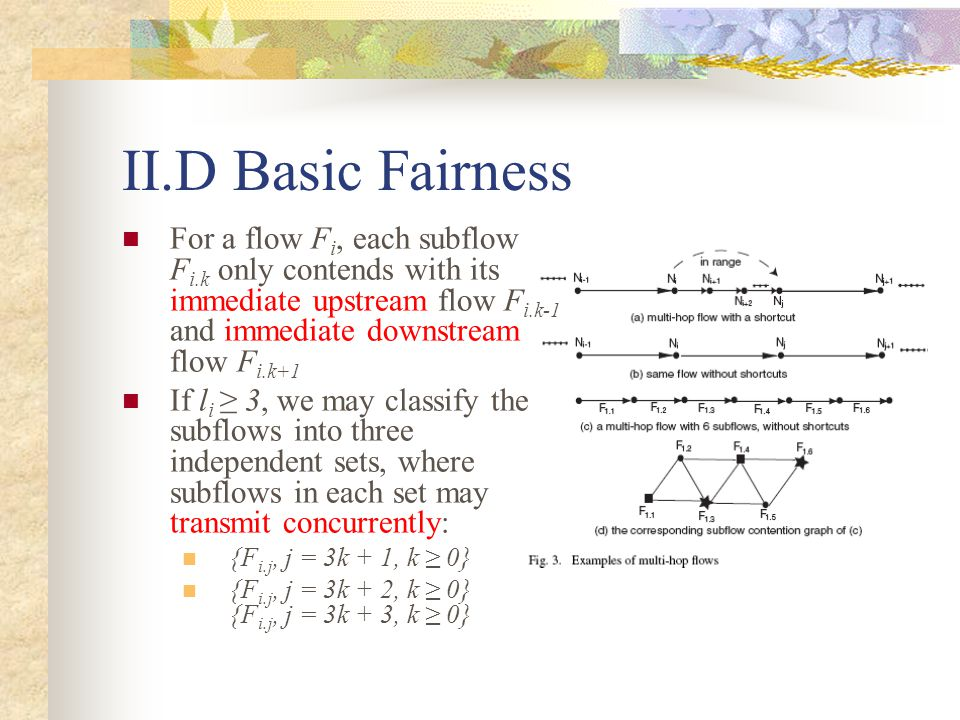 II.D Basic Fairness For a flow F i, each subflow F i.k only contends with its immediate upstream flow F i.k-1 and immediate downstream flow F i.k+1 If l i ≥ 3, we may classify the subflows into three independent sets, where subflows in each set may transmit concurrently: {F i.j, j = 3k + 1, k ≥ 0} {F i.j, j = 3k + 2, k ≥ 0} {F i.j, j = 3k + 3, k ≥ 0}