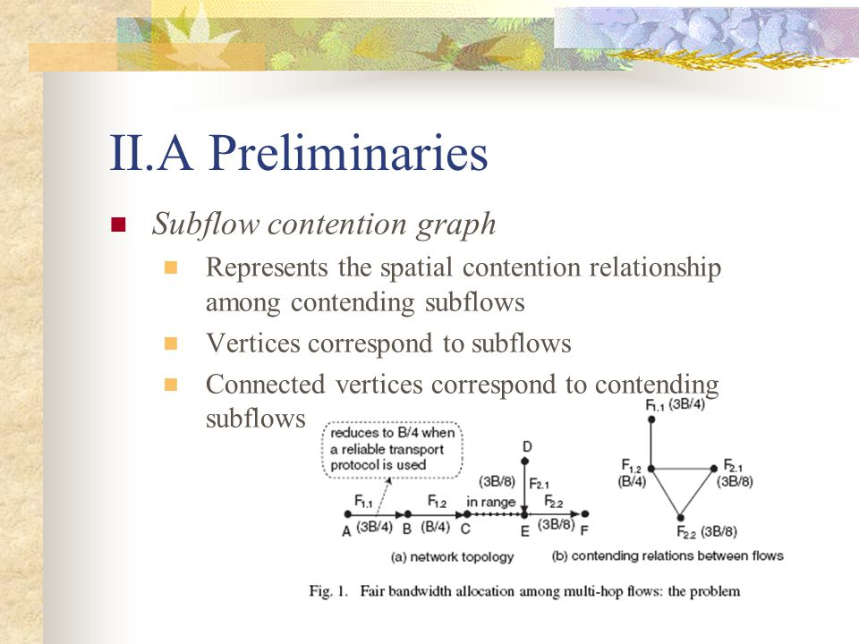 II.A Preliminaries Subflow contention graph Represents the spatial contention relationship among contending subflows Vertices correspond to subflows Connected vertices correspond to contending subflows