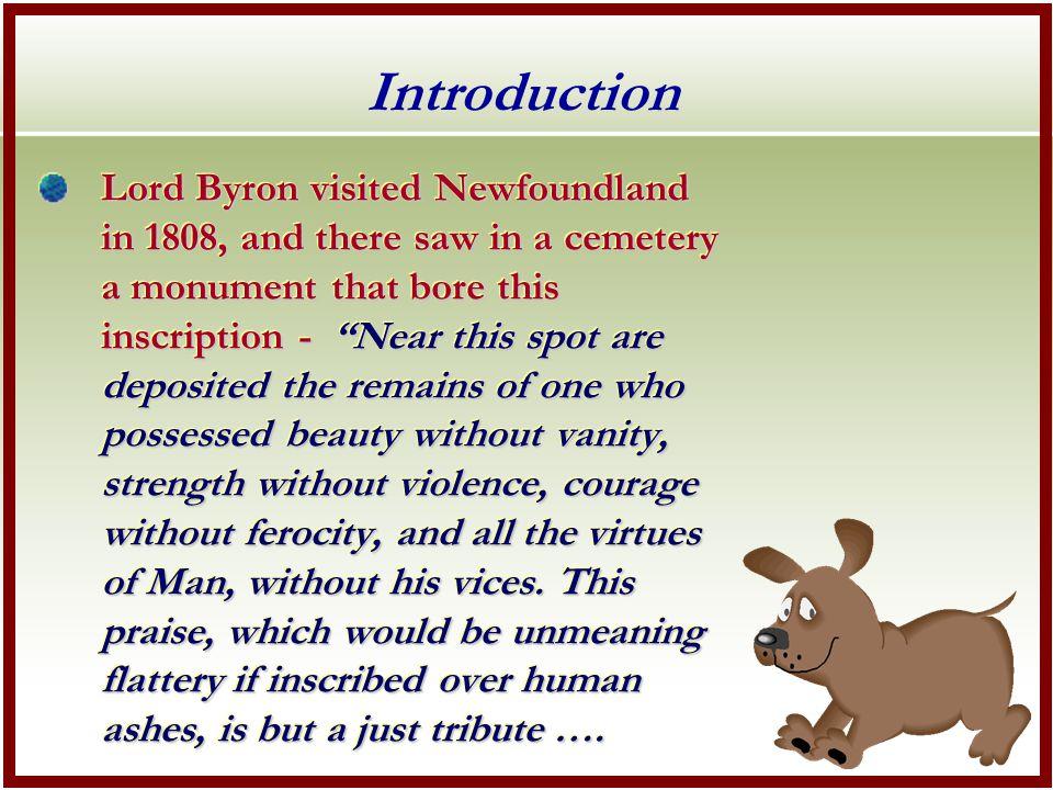 ….to the memory of Botswain – a dog.