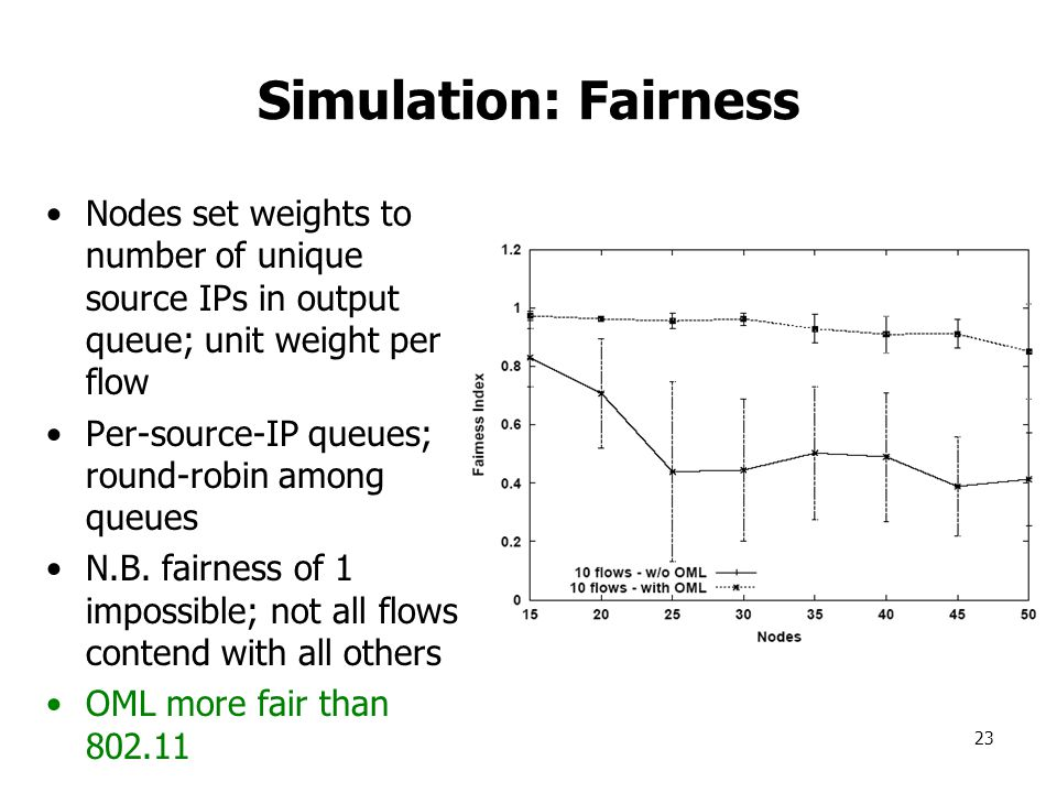 23 Simulation: Fairness Nodes set weights to number of unique source IPs in output queue; unit weight per flow Per-source-IP queues; round-robin among queues N.B.