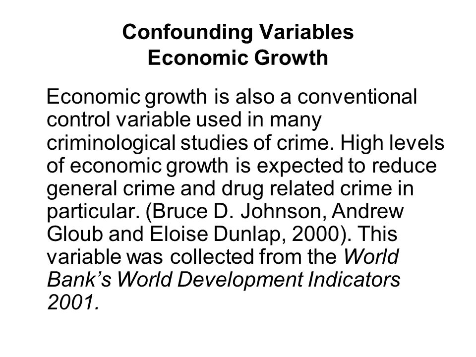 Confounding Variables Economic Growth Economic growth is also a conventional control variable used in many criminological studies of crime.