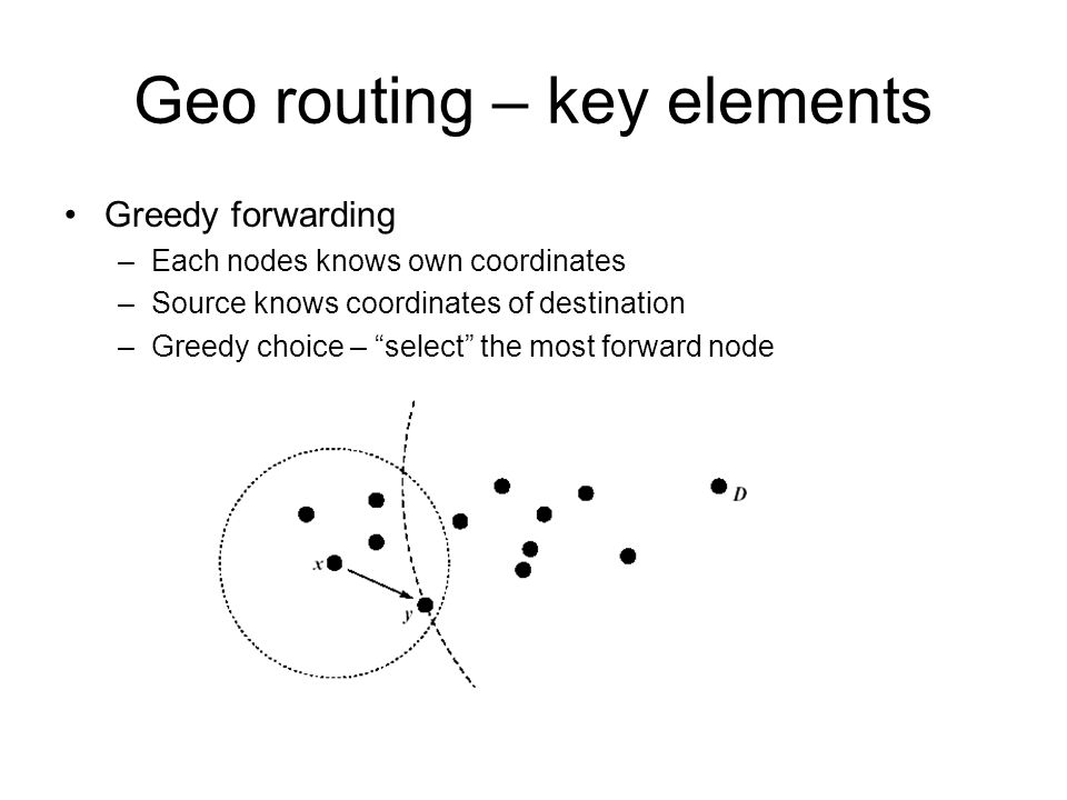 Geo routing – key elements Greedy forwarding –Each nodes knows own coordinates –Source knows coordinates of destination –Greedy choice – select the most forward node