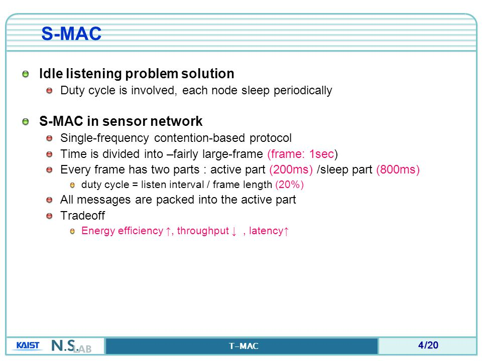 5/20 T-MAC Drawbacks of S-MAC Active (Listen) interval – long enough to handle to the highest expected load If message rate is less – energy is still wasted in idle-listening S-MAC' fixed duty cycle is NOT OPTIMAL