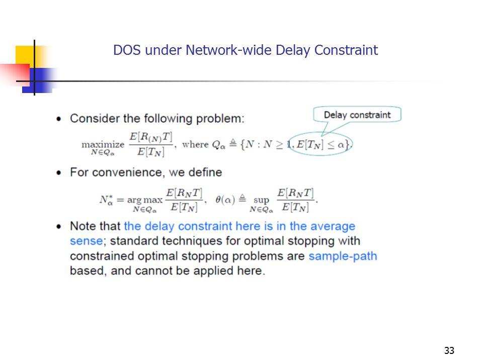 DOS under Network-wide Delay Constraint 33