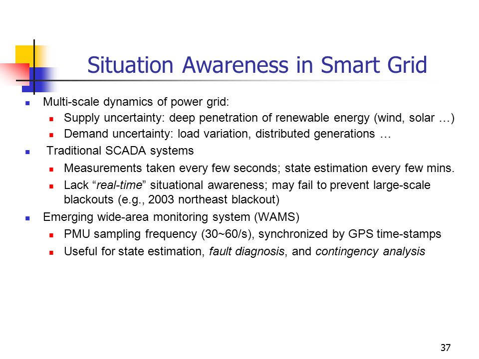 Situation Awareness in Smart Grid Multi-scale dynamics of power grid: Supply uncertainty: deep penetration of renewable energy (wind, solar …) Demand