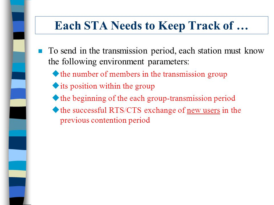 Each STA Needs to Keep Track of … n To send in the transmission period, each station must know the following environment parameters: uthe number of members in the transmission group uits position within the group uthe beginning of the each group-transmission period uthe successful RTS/CTS exchange of new users in the previous contention period