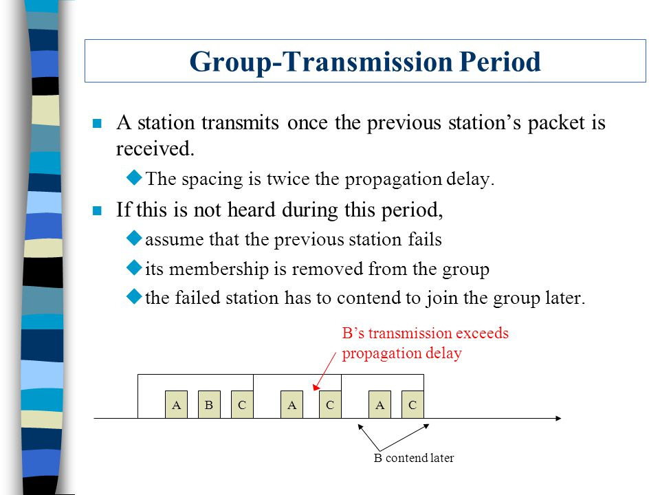Group-Transmission Period n A station transmits once the previous station's packet is received. uThe spacing is twice the propagation delay. n If this