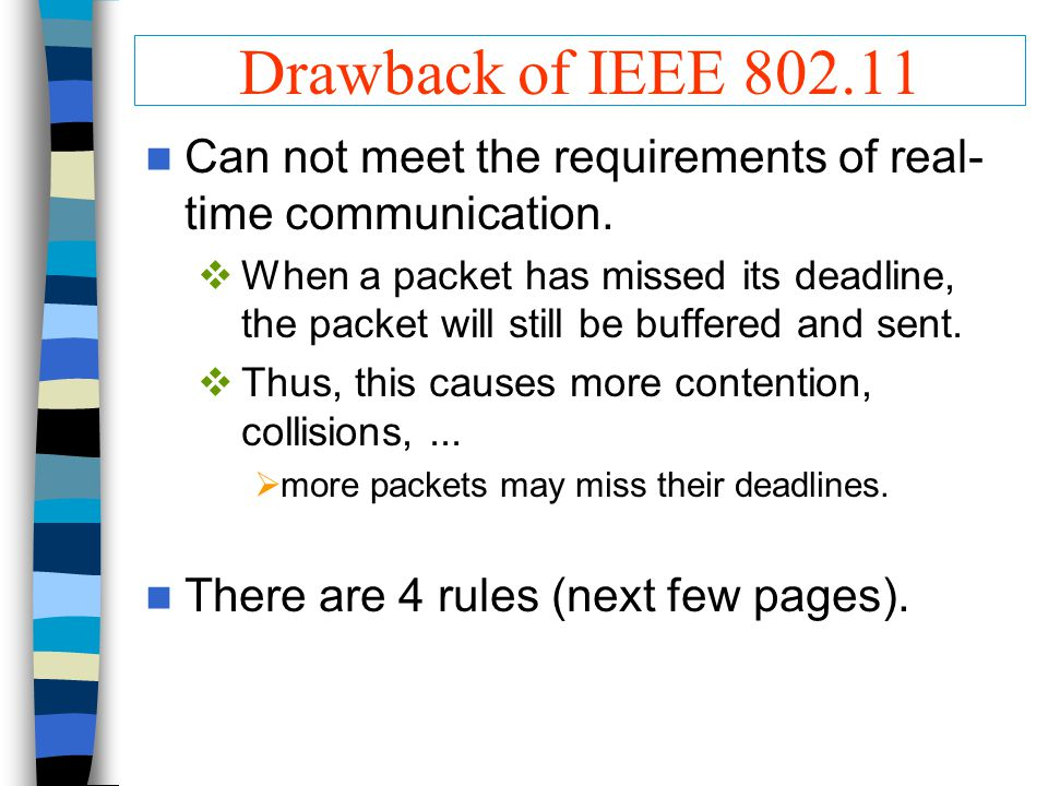 Drawback of IEEE 802.11 Can not meet the requirements of real- time communication.  When a packet has missed its deadline, the packet will still be b