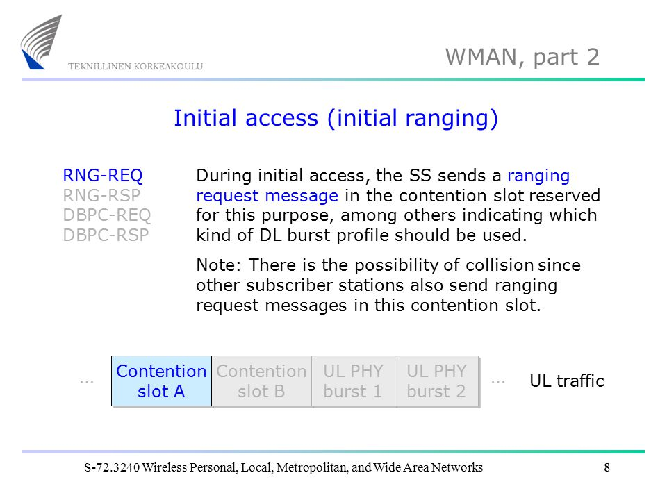 WMAN, part 2 S-72.3240 Wireless Personal, Local, Metropolitan, and Wide Area Networks8 Initial access (initial ranging) RNG-REQ RNG-RSP DBPC-REQ DBPC-RSP Contention slot A Contention slot A Contention slot B Contention slot B UL PHY burst 1 UL PHY burst 1 …… UL PHY burst 2 UL PHY burst 2 UL traffic During initial access, the SS sends a ranging request message in the contention slot reserved for this purpose, among others indicating which kind of DL burst profile should be used.