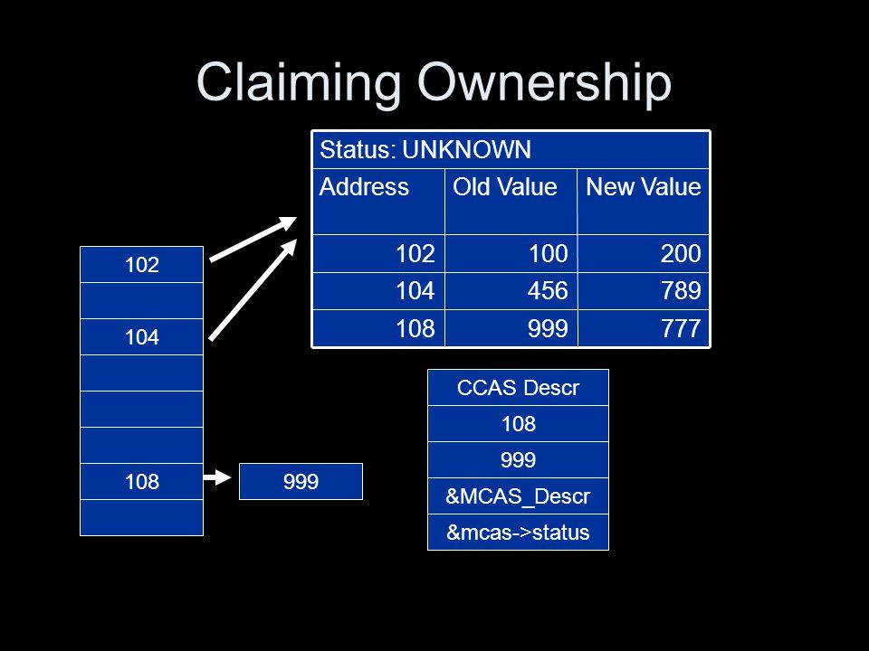 Claiming Ownership 200100102 789456104 777999108 New ValueOld ValueAddress Status: UNKNOWN 102 104 108 CCAS Descr 108 999 &MCAS_Descr &mcas->status 999