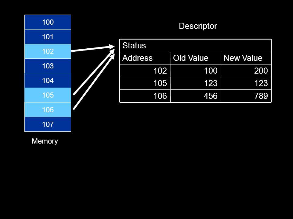 100 101 102 103 104 105 106 107 789456106 123 105 200100102 New ValueOld ValueAddress Status Memory Descriptor