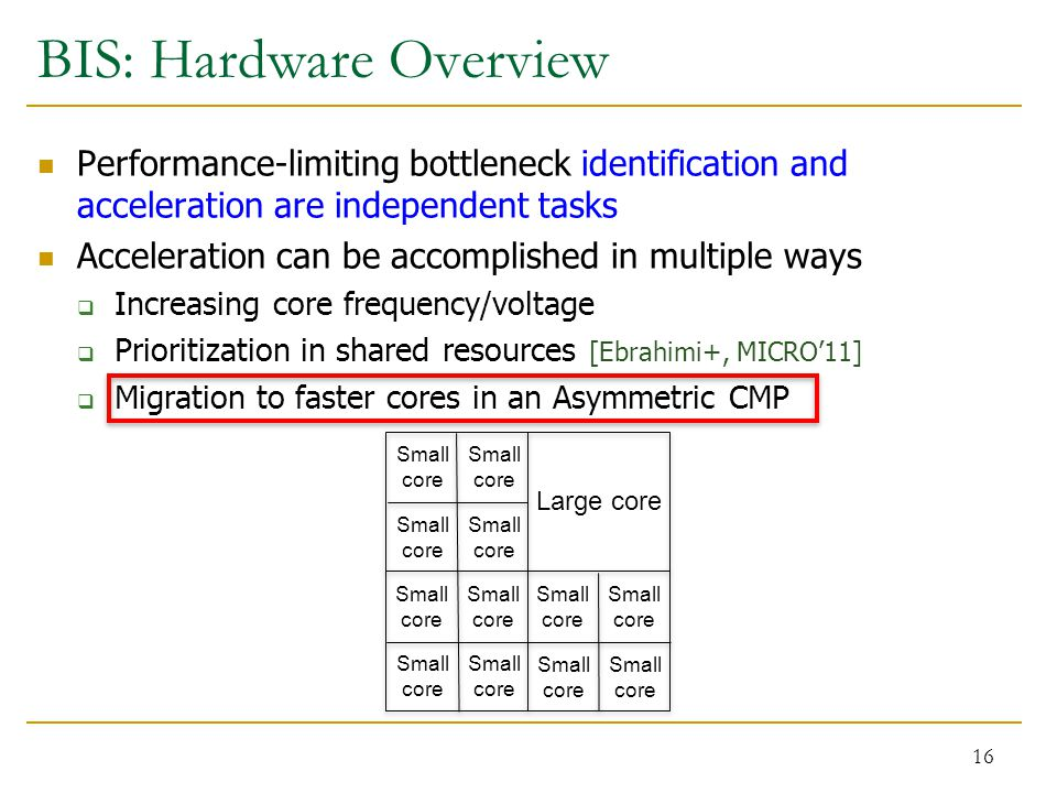 BIS: Hardware Overview Performance-limiting bottleneck identification and acceleration are independent tasks Acceleration can be accomplished in multiple ways  Increasing core frequency/voltage  Prioritization in shared resources [Ebrahimi+, MICRO'11]  Migration to faster cores in an Asymmetric CMP 16 Large core Small core Small core Small core Small core Small core Small core Small core Small core Small core Small core Small core Small core