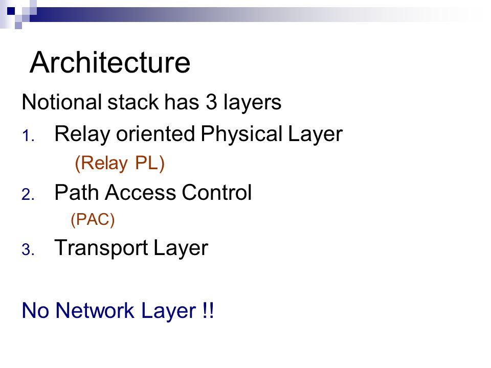 Architecture Notional stack has 3 layers 1. Relay oriented Physical Layer (Relay PL) 2.