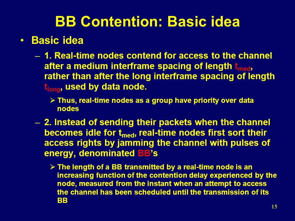15 BB Contention: Basic idea Basic idea –1.