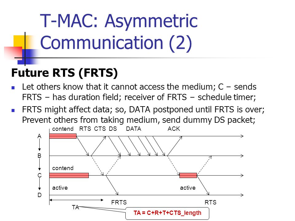 T-MAC: Asymmetric Communication (1) Early-Sleeping Problem – in convergecast (A to D) C – may lose medium to B (RTS) or A (B ' s CTS) C loses to B; D will hear CTS from C; C loses to A; D will hear nothing, since C is silent; A B C D contend RTSCTSDATAACK RTS.